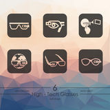 Set of high-tech glasses icons. High-tech glasses modern icons for mobile interface on blurred background Stock Photo
