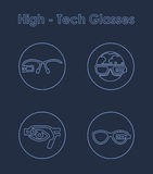 Set of high-tech glasses simple icons Royalty Free Stock Photo