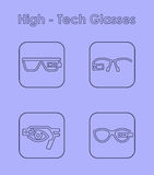 Set of high-tech glasses simple icons Stock Image