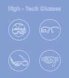 Set of high-tech glasses simple icons Stock Photos