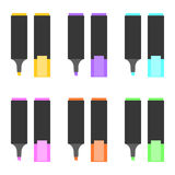 Set of highlighting pen Royalty Free Stock Images