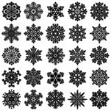 Set of 25 highly detailed geometrical  snowflakes. Set of 25 highly detailed geometrical snowflakes isolated on white. Vector illustration Royalty Free Stock Photography