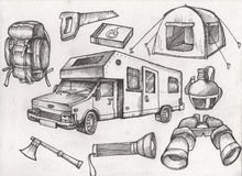 Set of highly detailed hand drawn camping stuff. Vintage signs collection. Stock Image