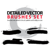 Set of highly detailed vector brush strokes Royalty Free Stock Image
