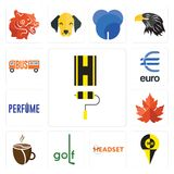 Set of highway, , headset, golf, cafeteria, maple leaf, euro, icons. Set Of 13 simple editable icons such as highway, , headset, golf, cafeteria, maple leaf Stock Photo