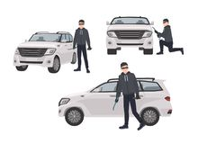 Set of hijacker wearing black clothes and mask standing beside car and trying to break into it. Male cartoon character royalty free illustration