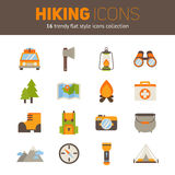 A set of hiking flat icons in modern style Stock Photos