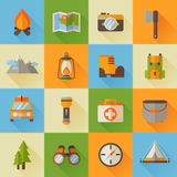 A set of hiking flat icons in modern style Stock Photography