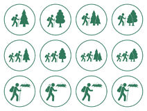 Set of Hiking icon illustration isolated vector Royalty Free Stock Images