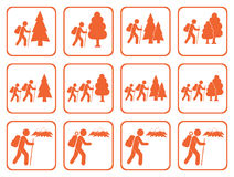 Set of Hiking icon illustration  vector Stock Image