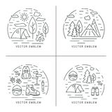 Set of hiking linear concept. Circle compositions for trekking, tourism and travels design. Royalty Free Stock Photography