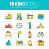 A set of hiking thin lined flat icons with camping elements Stock Photo