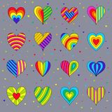 Set of Ð¡hildren`s Bright Colorful Hearts Isolated on Grey Backg. Set of Сhildren`s Bright Colorful Hearts Isolated on Grey Background. Kit of Decorative royalty free illustration