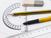 Set Hilfsmittel für Zeichnung Lizenzfreies Stockbild