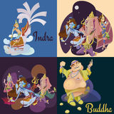 Set of  hindu gods meditation in yoga poses lotus and Goddess hinduism religion, traditional asian culture Royalty Free Stock Image