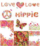 Set of hippie backgrounds Stock Photos