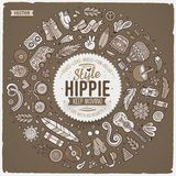 Set of Hippie cartoon doodle objects, symbols and items Stock Photo