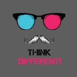 Set of hippie glasses, mustache, tie. Think different. Vector illustration Stock Photos