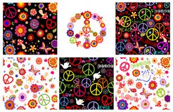 Set of hippie wrappers with peace symbols, heart shape, flowers and doves Royalty Free Stock Image