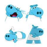 Set of Hippopotamus characters in cartoon style. Hippopotamus in various actions. Royalty Free Stock Photos