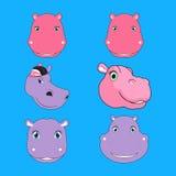 Set of Hippopotamus Head Cartoon Royalty Free Stock Image