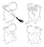 A set of hippopotamuses. Coloring book Royalty Free Stock Photos
