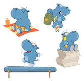 Set of hippos cartoon. Set of small various hippopotamuses Royalty Free Stock Photo