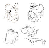 A set of hippos. Coloring book Royalty Free Stock Photos