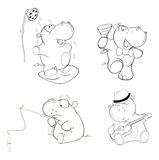 A set of hippos. Coloring book Stock Photography