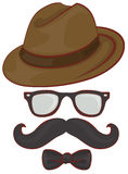 Set hipster accessories - hat, glasses, mustache, bow tie Stock Photo