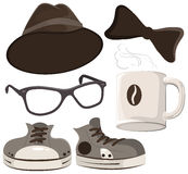 Set hipster accessories - hat, glasses, tie, mug of coffee, shoes Stock Photography
