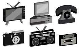 A set of hipster, antique, old, antique, camera, personal computer, audio tape recorder, audio cassette, disk phone, TV from the 8. 0`s, 90`s on a white Royalty Free Stock Images