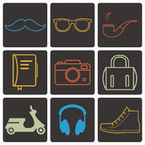 Set of  hipster attributes Stock Photography