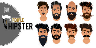 Set of hipster avatars for the web site. Brutal man face icons. Royalty Free Stock Photos