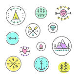 Set of hipster badges. Camping, tribal, etc. Stock Photos
