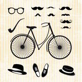Set of the hipster with bicycle Royalty Free Stock Photo