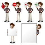 Set of hipster businessman holding sign board. Set of hipster businessman cartoon character design holding a blank empty sign board banner billboard card poster Royalty Free Stock Photography