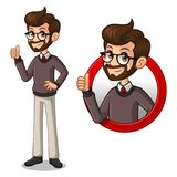 Set of hipster businessman inside the circle logo concept Royalty Free Stock Image