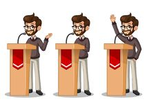 Set of hipster businessman giving a speech behind rostrum. Set of hipster businessman cartoon character design politician orator public speaker giving a talk Royalty Free Stock Photo