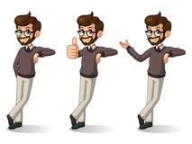 Set of hipster businessman stand leaning against. Set of hipster businessman cartoon character design stand leaning against, isolated against white background stock illustration