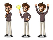 Set of hipster businessman getting ideas gesture Royalty Free Stock Photography