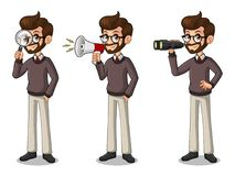 Set of hipster businessman looking for poses stock de ilustración