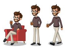 Set of hipster businessman making a break with drinking a coffee Stock Photos