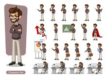 Set of hipster businessman vector illustration. Set of hipster businessman cartoon character design with different poses, include with carrying messenger bag Royalty Free Stock Image