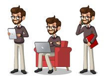 Set of hipster businessman working on gadgets Royalty Free Stock Image