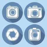 Set of  hipster cameras or web icons with long shadow Stock Image
