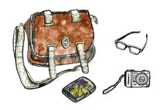 Set of hipster elements. Bag, glasses, camera and sketchpad. Set of hipster elements. Watercolor illustration. Bag, glasses, camera and sketchpad Royalty Free Stock Images