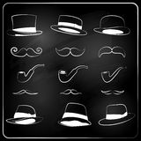 Set of hipster elemetns, drawn with chalk Royalty Free Stock Image