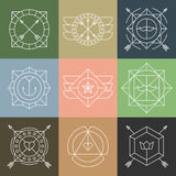 Set of Hipster Emblems and Badges. Set of abstract simple outline hipster emblems, stamps, signs, badges or logos. Minimal style. Vector illustration Stock Photo