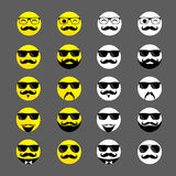 Set of hipster emoticons with beards and mustaches royalty free stock photos